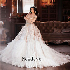 Feather custom made wedding dresses for sale ebay feathers wedding dresses appliques beads bridal ball gowns custom made luxury junglespirit Images
