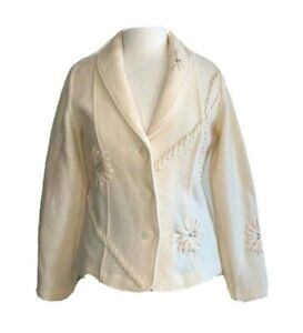Coldwater Creek Jacket Ivory Boiled Wool Vintage Not White