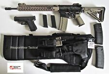 Black Tactical Rifle Scabbard Case for AR 15  Pistol & Double Mag Pouch Included