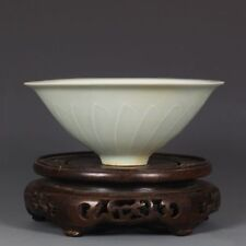 China old antique Porcelain Shadow celadon glaze Flower lines bamboo hat bowl