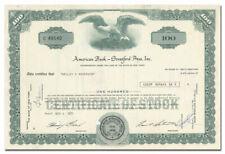 American Book - Stratford Press, Inc. Stock Certificate