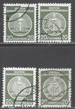 """GERMANY,EAST (DDR) STAMPS #o8//o22a -- (4) VARIETIES """"ARMS"""" -- 1950s --  USED"""