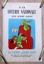 Original 1954 French National Lottery Poster by Lucien Boucher