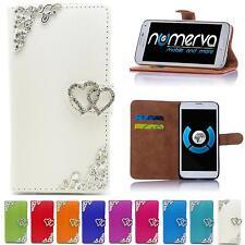 Handy Tasche für LG Apple Flip Cover Case Strass Schutz Hülle Etui Schale Wallet