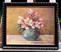 schönes Ölgemälde im Prunkrahmen Blumenbild signiert Helca 1922  Künstlerarbeit