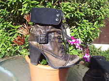 RIVER ISLAND MILiTARY STYLE DISTRESSED LEATHER BOOTS SIZE 4