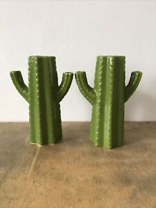 2x Ceramic Cactus Shaped Green Decorative 3 Section Vase/Ornament Cacti Plant