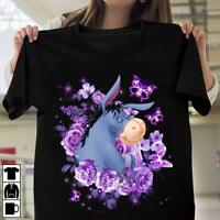 Eeyore & Purple Flower Ladies T-Shirt Cotton S-3XL