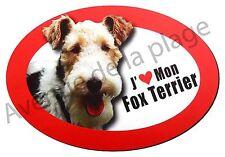 """Magnet chien """"J'aime mon Fox Terrier"""" frigo/voiture idée cadeau NEUF"""