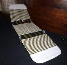 NOS Vtg Mid Century Vinyl Tube Avocado Green White Chaise Lounge Lawn Chair #2