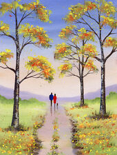 Sarah Featherstone, original firmada pintura acuarela, árboles de otoño, caminar, perro