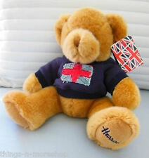 Harrods Knightsbridge London Plush Union Jack Hooded Teddy Bear with Tags - Vgc