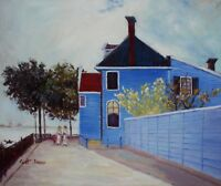 Quality Hand Painted Oil Painting Repro Claude Monet Blue House 20x24in