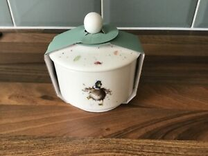 Royal Worcester Wrendale Covered Sugar Bowl Pot with Lid Porcelain Duck Country.