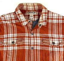 Duluth Trading Flannel Insulated Lined Shirt Jacket Orange Mens Sz XL Heavy Warm