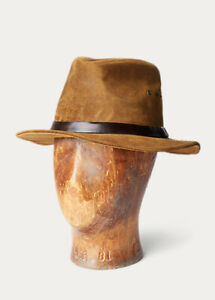 RRL Double RL Ralph Lauren Tan Brown Italian Suede Fishing Hat Sz. L/XL (61CM)
