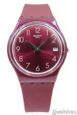 New Swatch REDBAYA Silicone Metallic Dark Strawberry Date Watch 34mm GR405 $70