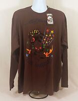 Men's Ed Hardy Death Or Glory Skull Panther Long Sleeve T-Shirt Size 2XL-5XL New