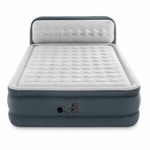 Intex Ultra Plush Inflatable Bed Air Mattress w/ Built-in Pump, Headboard, Queen