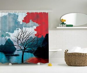 Winter Tree Mystic Landscapes Watercolor Design Shower Curtain Extra Long 84Inch
