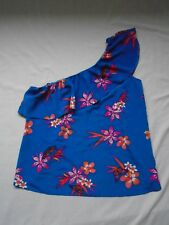 BNWT Blue + pink/orange floral print one shoulder asymmetric frilled top UK 16