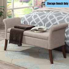 Contemporary Bench Ottoman Concealed Storage Living Room Upholstered Accent Seat