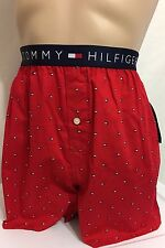 Tommy Hilfiger Button Fly Woven Boxer Large (36-38) Red   (7496)
