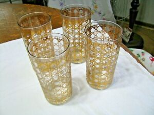 Vintage Set-4 Culver Ltd. Highball Glasses-Cannella Pattern-22K gold - 60's #2