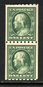 SCOTT 390 1910 1 CENT FRANKLIN REGULAR ISSUE COIL PAIR MNH OG F-VF CAT $14!