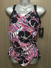 BNWT Ladies Sz 22 2Sea Australia Black/Pink Padded One Piece Swimsuit RRP $90