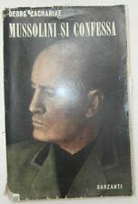 Raro Libro Mussolini si confessa 1948 prima edizione Zachariae Garzanti