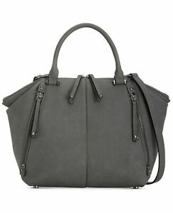 INC Giigi Satchel Faux Suede Leather Slate Gray NWT $89