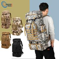 80L Waterproof Military Tactical Backpack Bag Hiking Camping Trekking Rucksacks