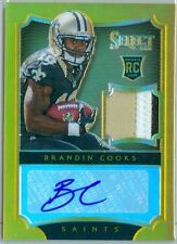 2014 SELECT (FB) Brandin Cooks SP AUTO/PATCH GOLD REFRACTOR RC CARD #'d 04/10