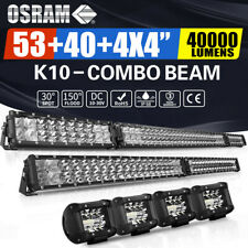 "54Inch 4000W LED Light Bar Combo + 42"" +4"" CUBE PODS OFFROAD SUV For Ford 53/20"""