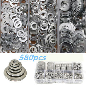 580pc 9 sizes Stainless Steel Washers Assortment Screw Car Accessories Flat Set
