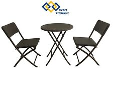 3 PCS RATTAN BISTRO SET FURNITURE HOME OUTDOOR GARDEN FOLDING COFFEE CHAIR TABLE