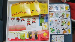 Pokemon 25th Anniversary Pikachu Mcdonalds Happy Meal Boxes Stickers Lot No Card