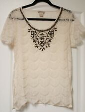 LUCKY BRAND lace shirt Medium short sleeve white embellished scalloped sheer top