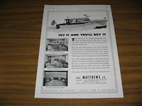 Vintage 1958 Small Size Print AD Matthews Martinique Boat