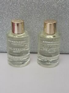 2 x Aromatherapy Associates De-Stress Muscle Bath and Shower Oil Travel 9ml New