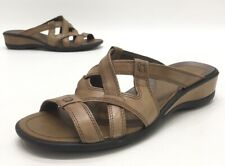 Ecco Womens Open Toe Tan Leather Comfort Heeled Sandals Size 39