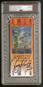 Ray Lewis Ravens HOF 2001 Super Bowl XXXV Full Ticket Signed Auto PSA/DNA
