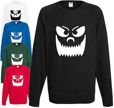 Big Teeth Smiley Pumpkin Face Halloween Sweatshirt Fancy Dress Jumper Scary Gift