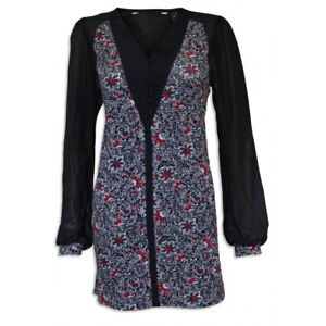 EX QUALITY CHAINSTORE BLACK/RED/WHITE FLORAL CHIFFON SLEEVE TUNIC - SIZES 10 -16