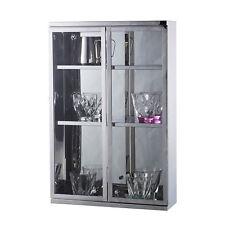 Modern Wall Mount Storage Cabinet Bathroom Stainless Steel W/ Shelves Silver