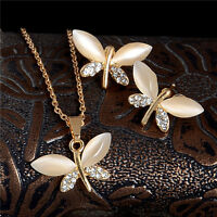 Gold Plated Austrian Crystal Pretty Dragonfly Lady Jewelry Set Necklace Earrings
