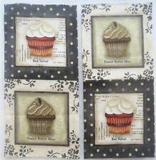 """Cupcake Fabric Peanut Butter Red Velvet 4"""" Quilt Block Squares #61"""