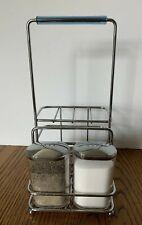 Silver Metal Wired Condiments Salt Pepper Shakers Holder Organizer Storage 11