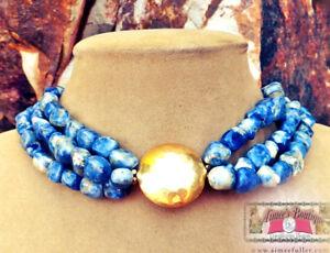 BLUE LAPIS LOOKING GENUINE SODALITE DENIM GEMSTONE NECKLACE Gold big JEWELRY
